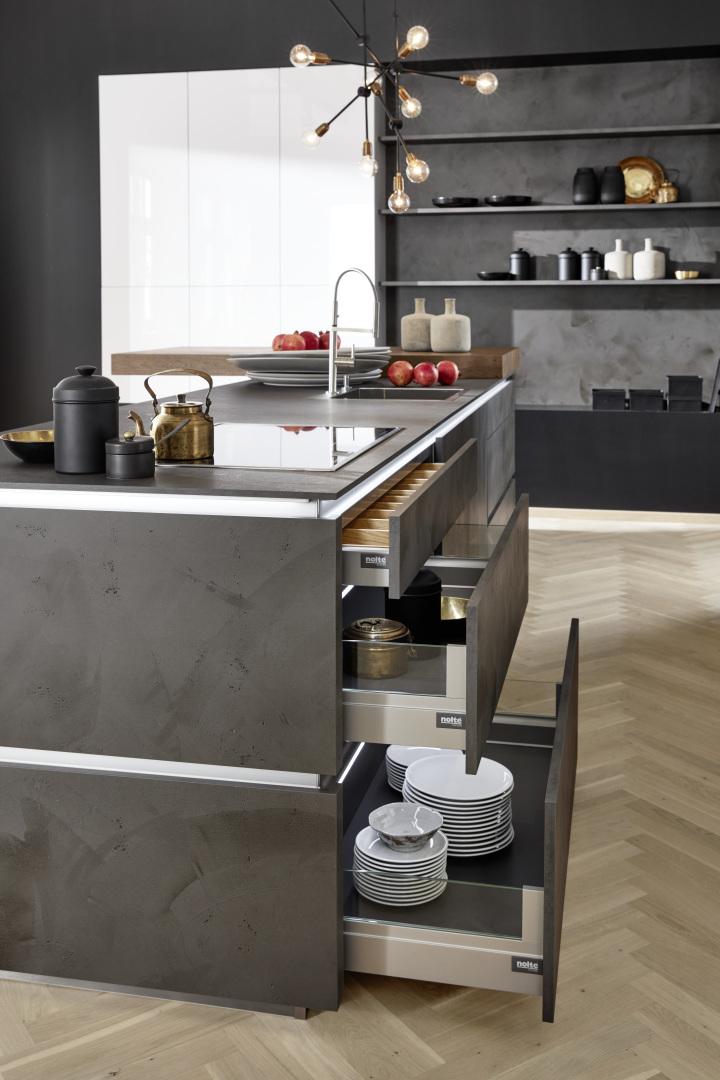 Cementowe fronty kuchenne - szuflady