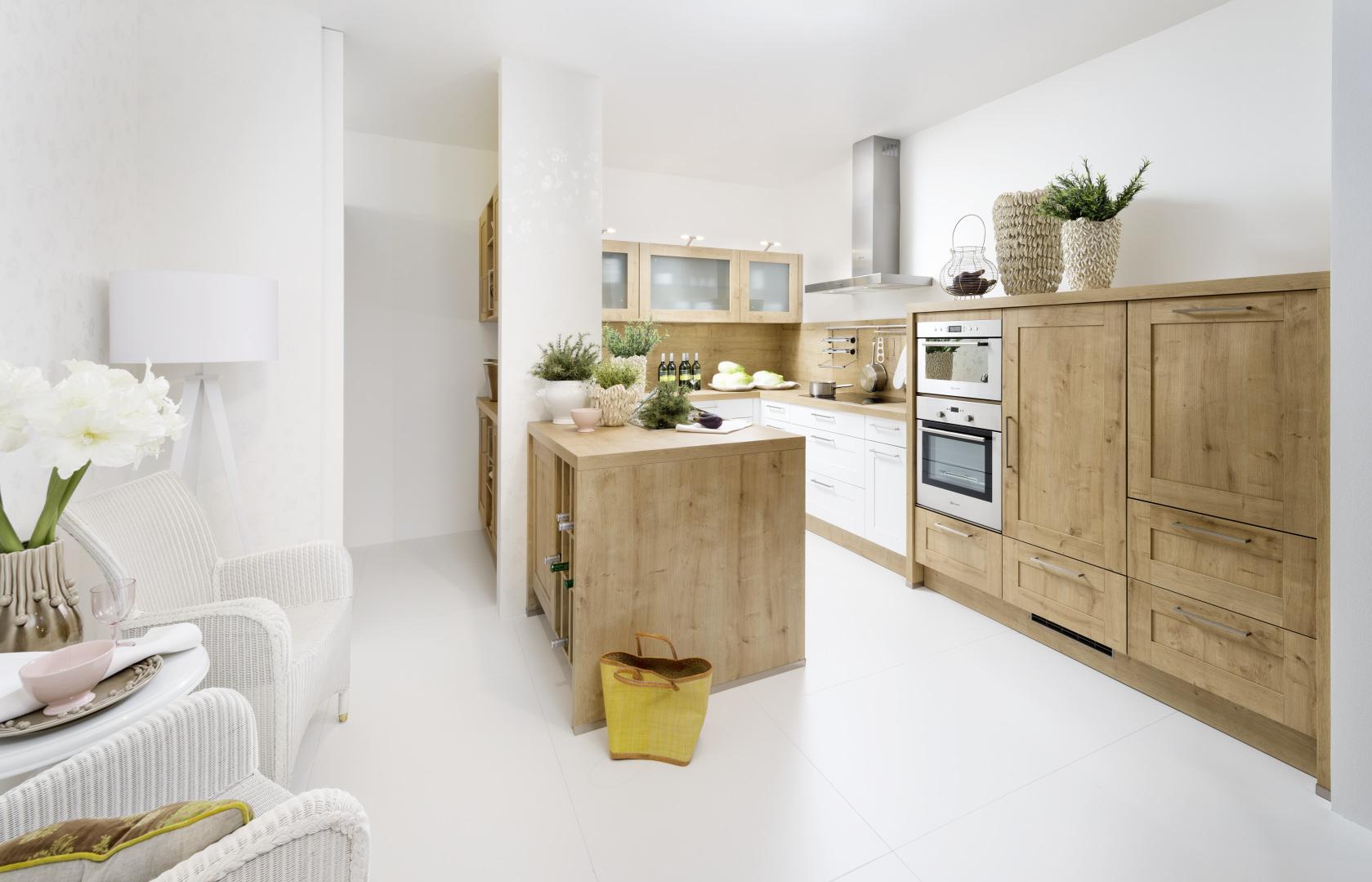 drewniana kuchnia z ramką nolte kuchen model vienna ciepły dąb