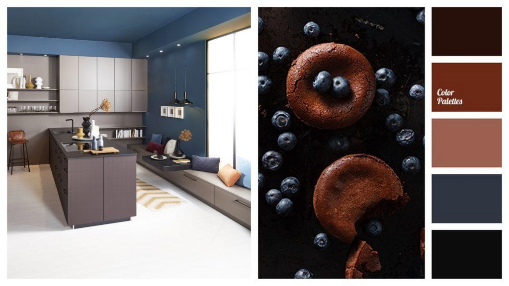 brązowa kuchnia z błękitnymi ścianami kolor kuchni: brasilbraun